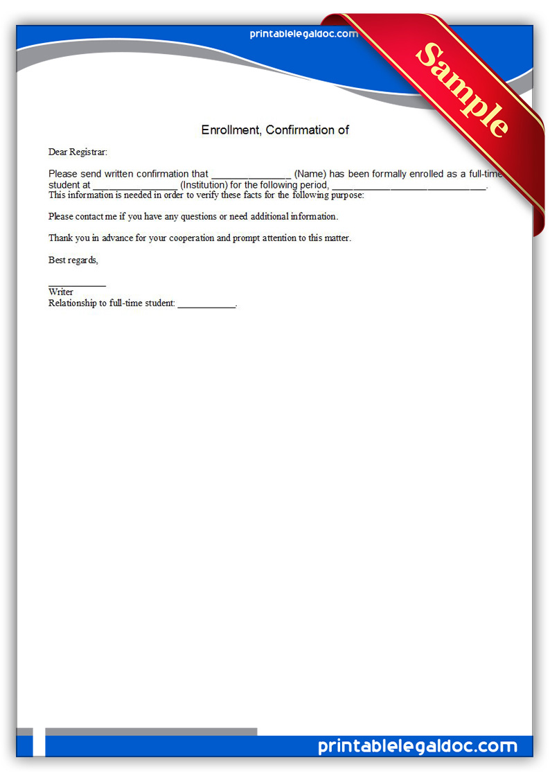 Free Printable Enrollment, Confirmation Of Form