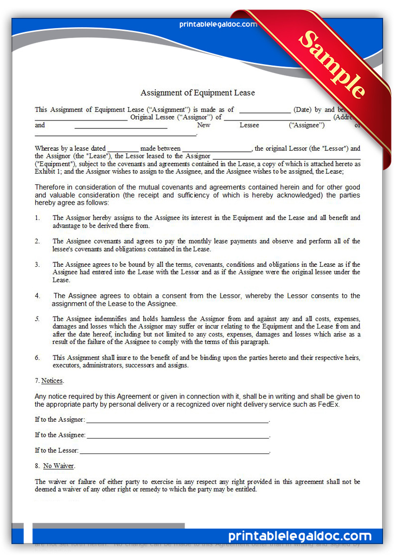 Free Printable Assignment Of Equipment Lease Form Generic