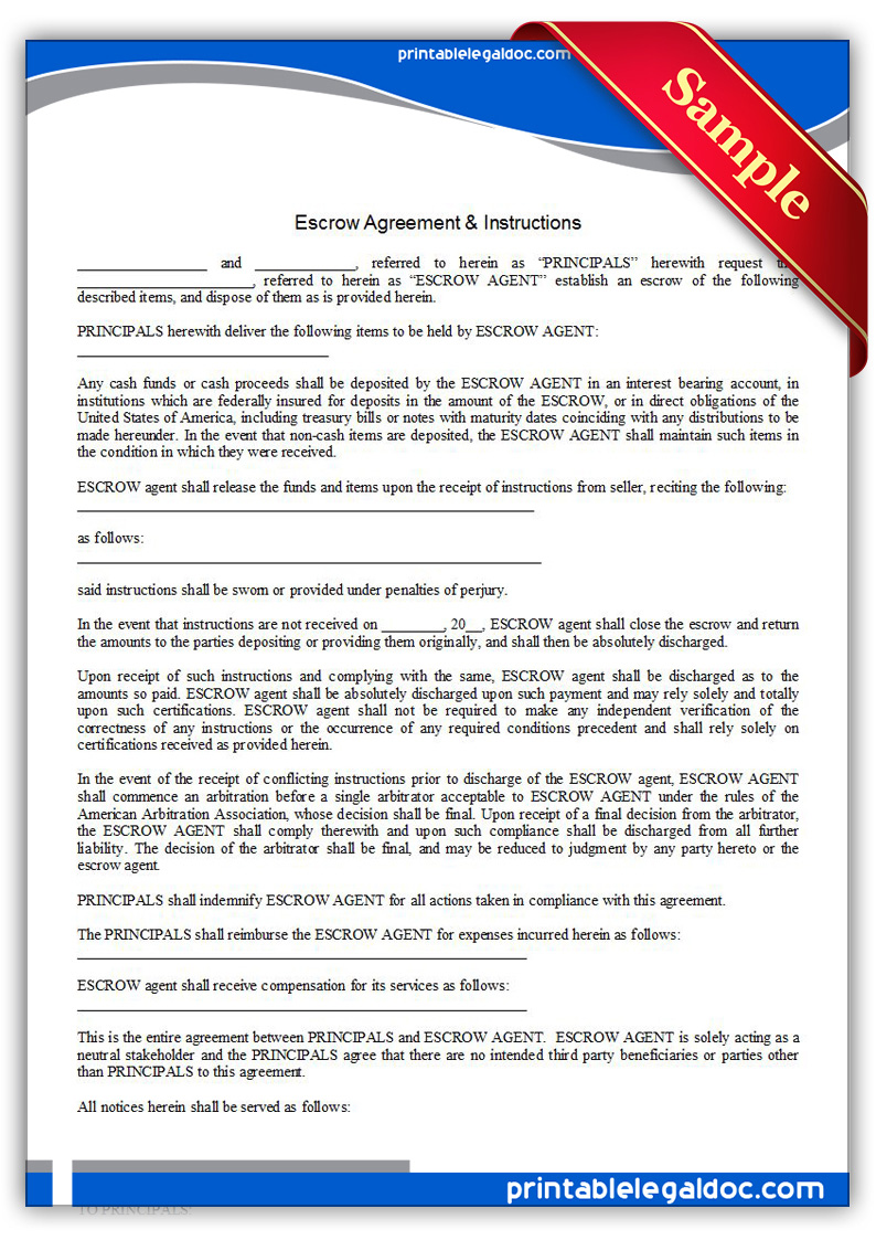 Free Printable Escrow Agreement & Instructions Form (GENERIC)