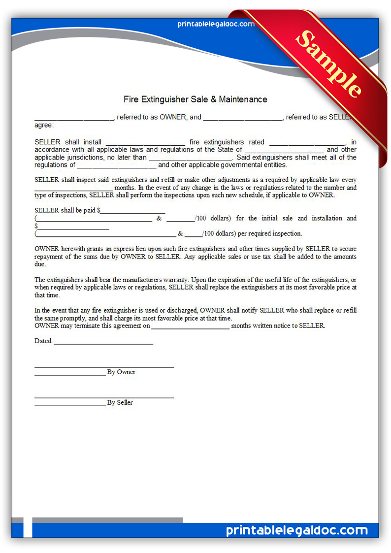 Free Printable Fire Extinguisher Sale & Maintenance ...