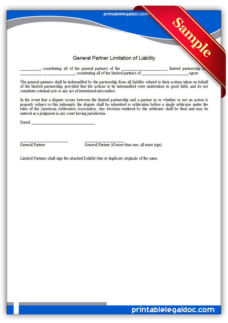 Free Printable General Partner Limitation Of Liability Form