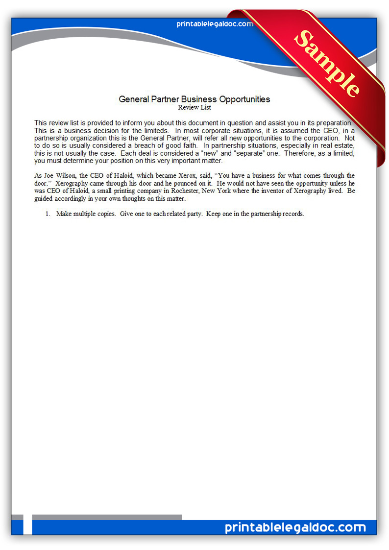 Free Printable General Partnership Business Opportunities Form