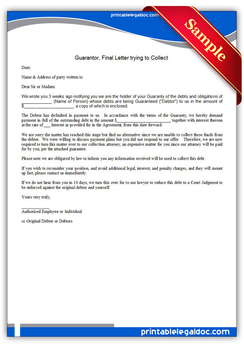 Free Printable Guarantor, Final Letter Trying To Collect Form