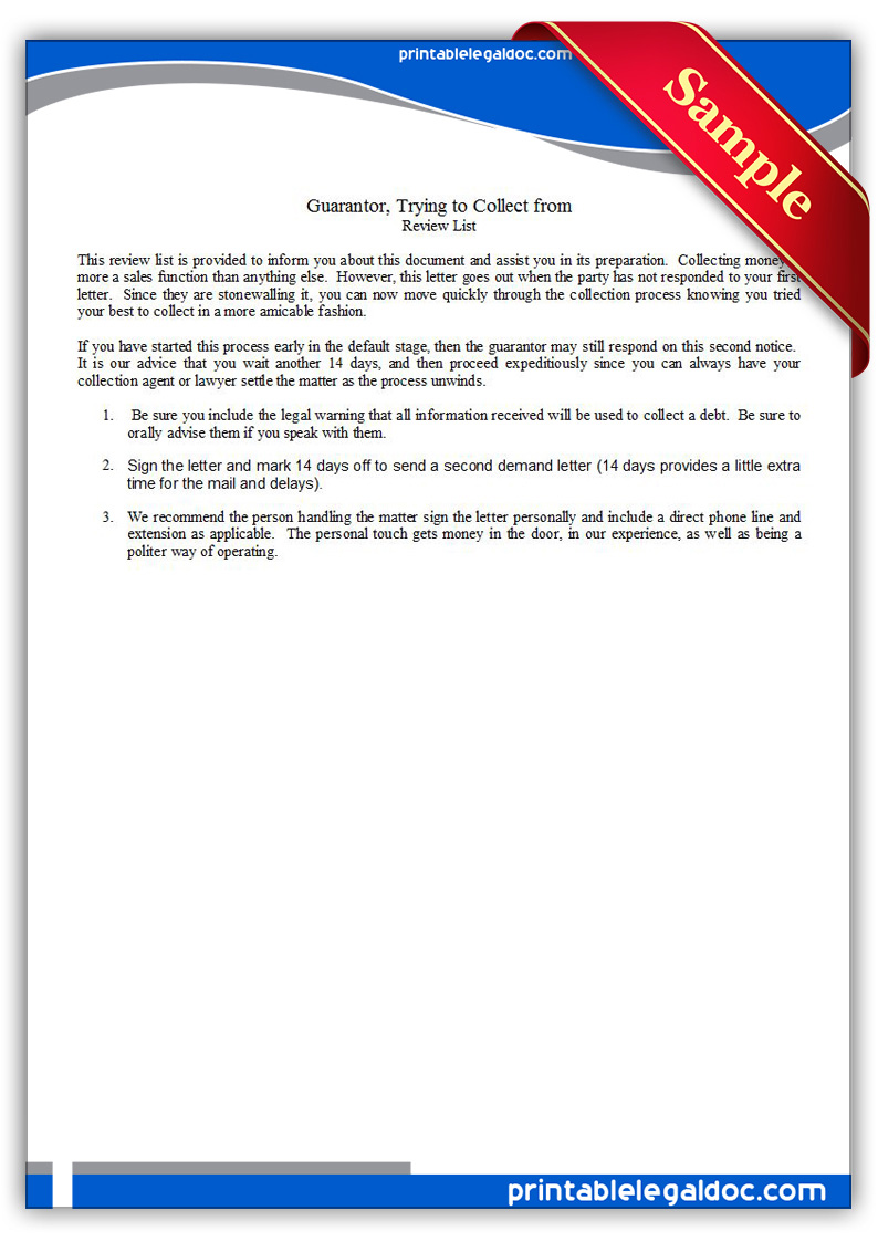 free printable guarantor final letter trying to collect form