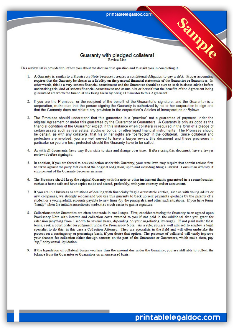 Free Printable Guaranty With Pledge Form