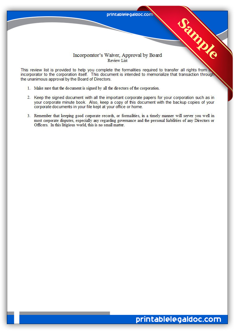 Free Printable Incorporator's Waiver, Board Approval Form