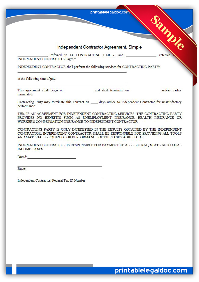 Free Printable Independent Contractor Agreement, Simple Form ...