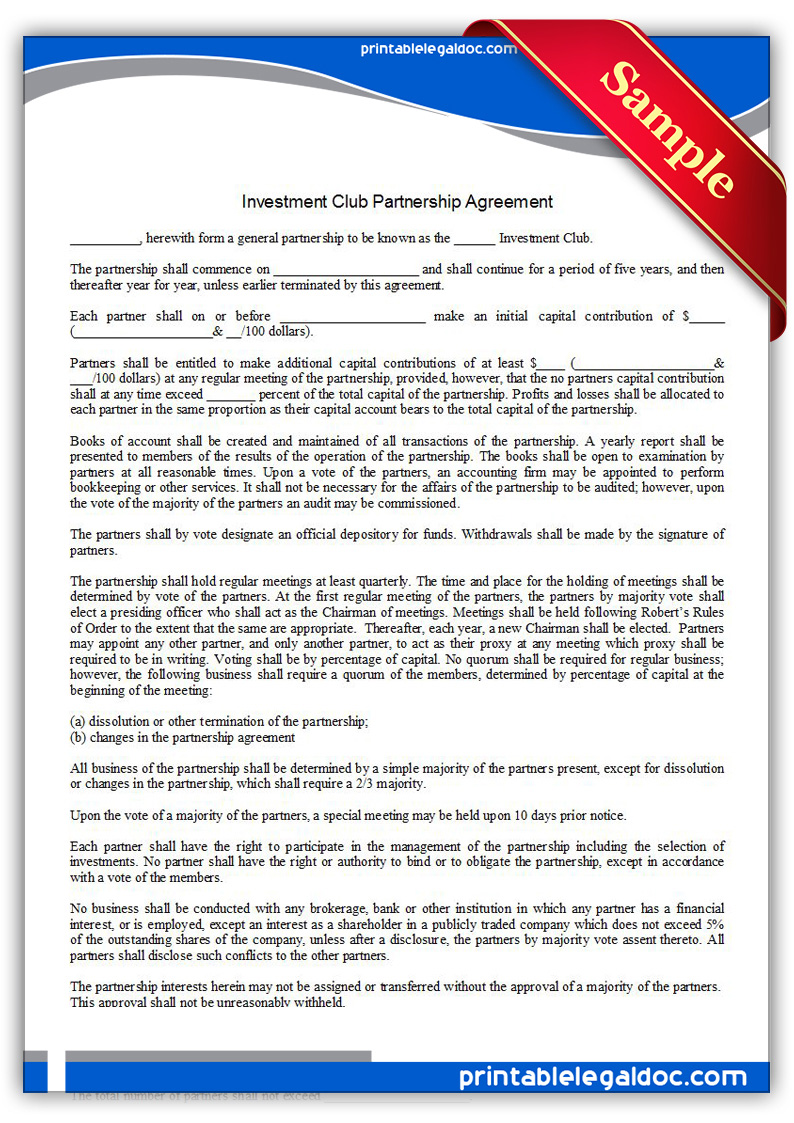 Free Printable Investment Club Partnership Agreement Form