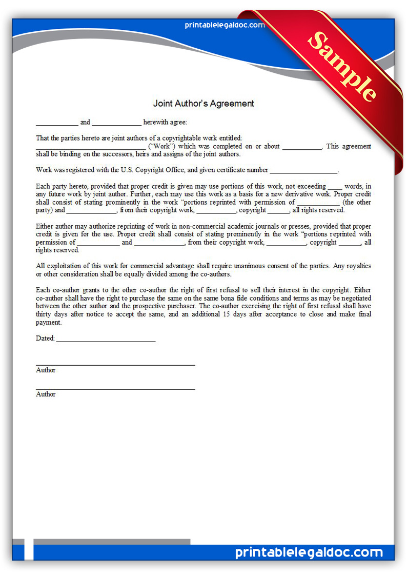 Free Printable Joint Author S Agreement Form Generic