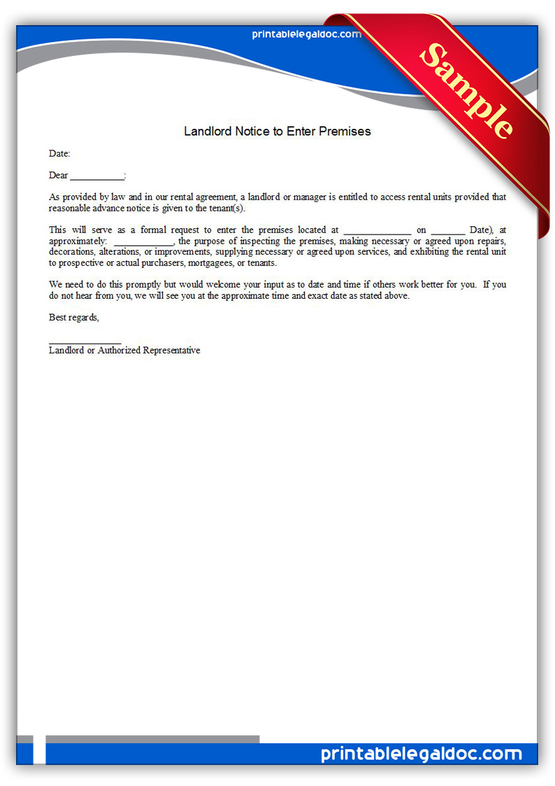 Free Printable Landlord, Notice To Enter Premises Form
