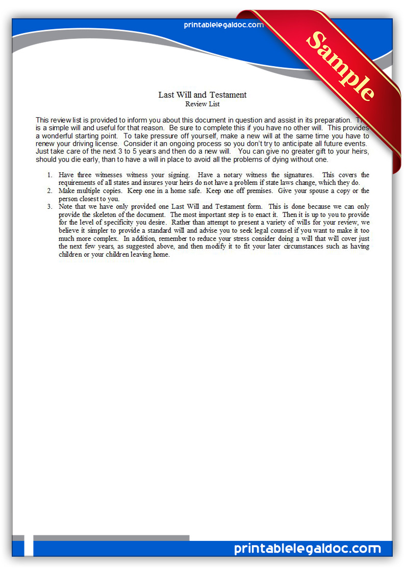 Free Printable Last Will And Testamant, Simple Form