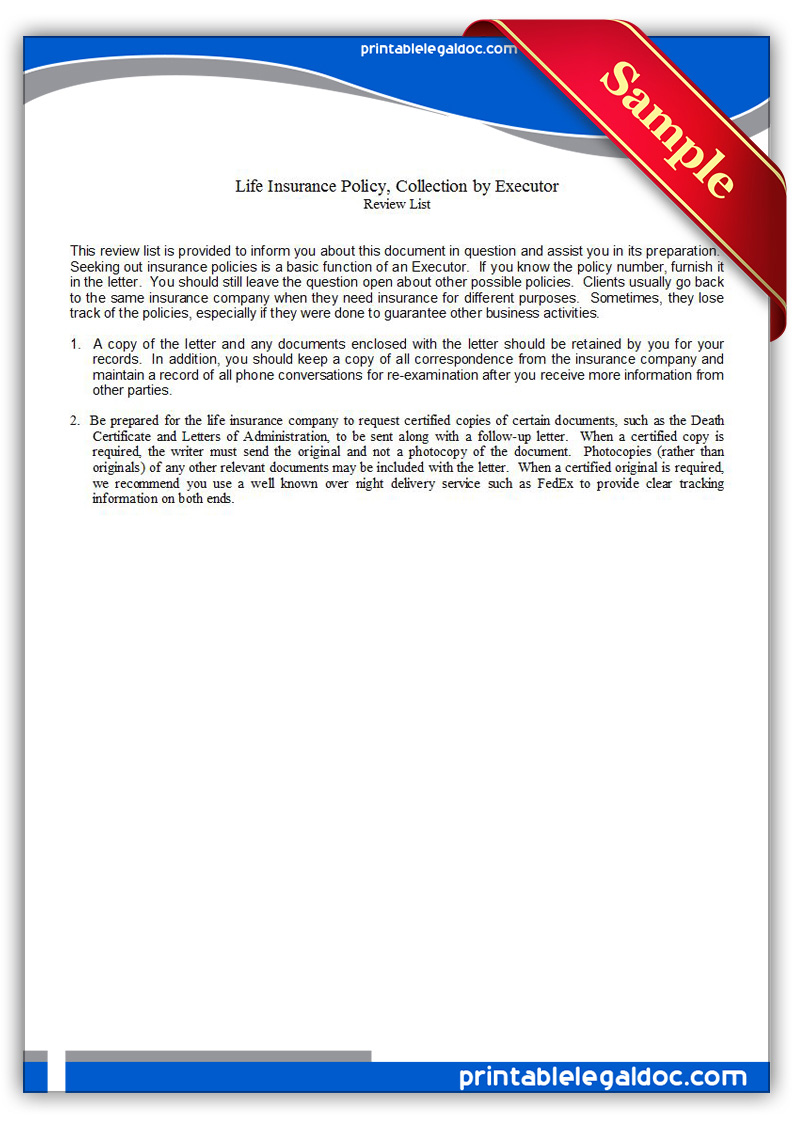 Free printable life insurance policy collection by executor form free printable life insurance policy collection by executor form falaconquin