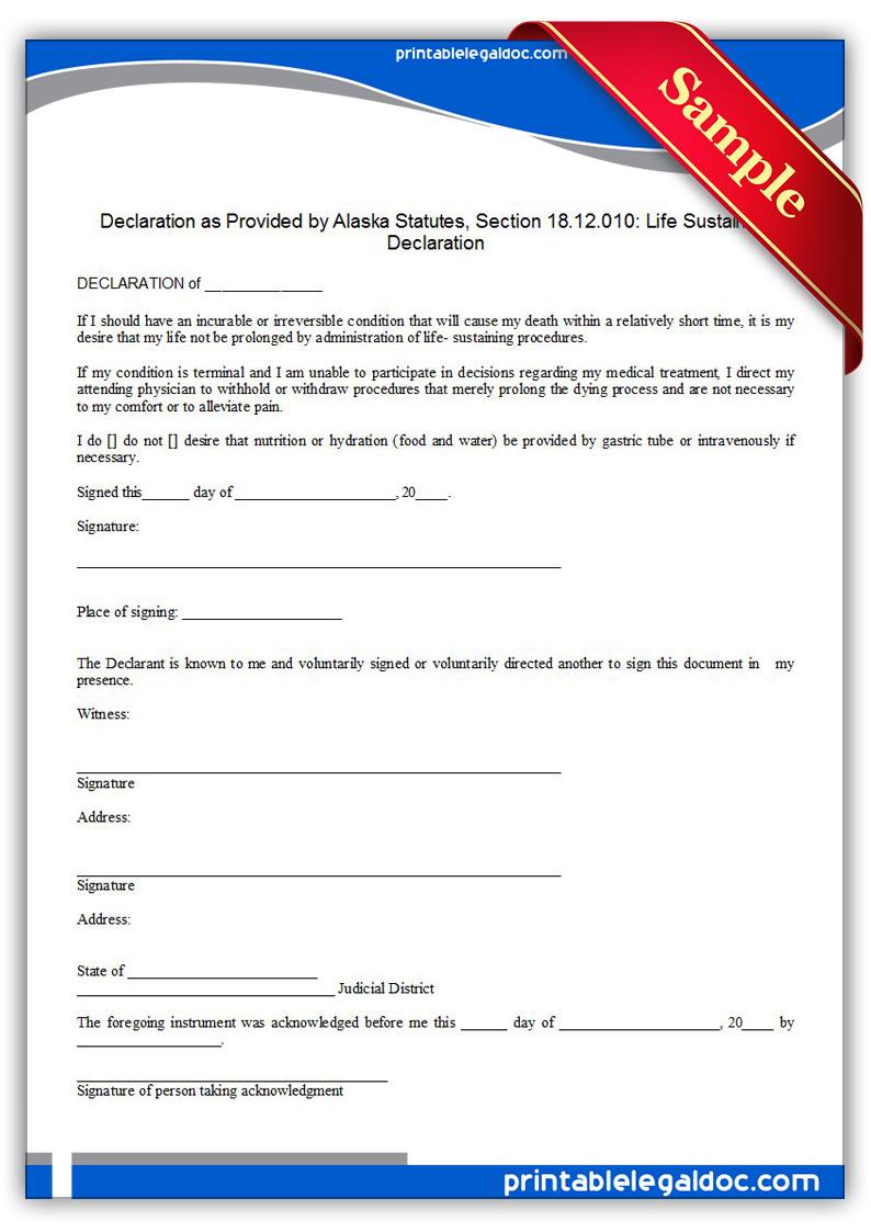 Free Printable Life Sustaining Statute, Alaska Form