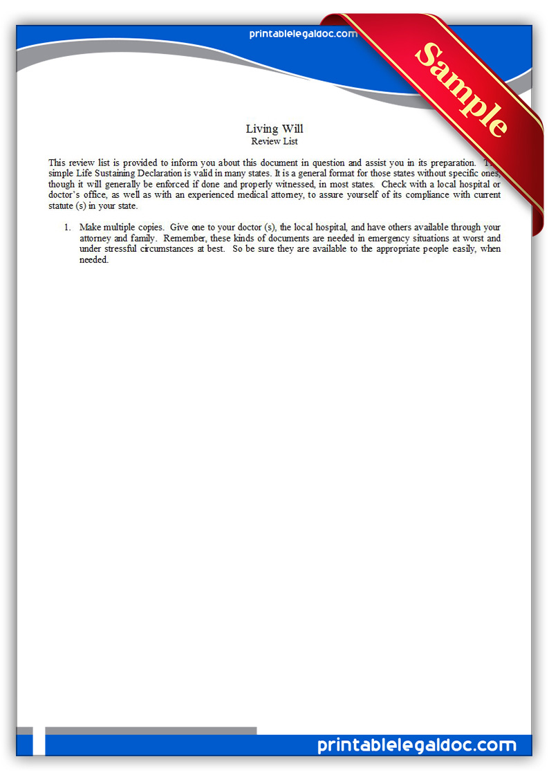Free Printable Life Sustaining Statute, General Form