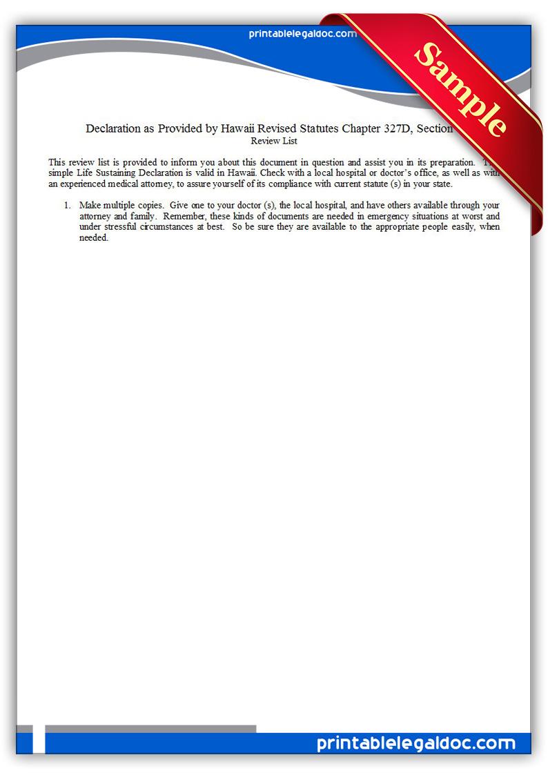 Free Printable Life Sustaining Statute, Hawaii Form