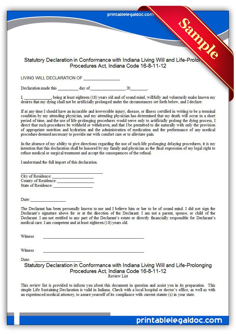 Free Printable Life Sustaining Statute Indiana Form Generic