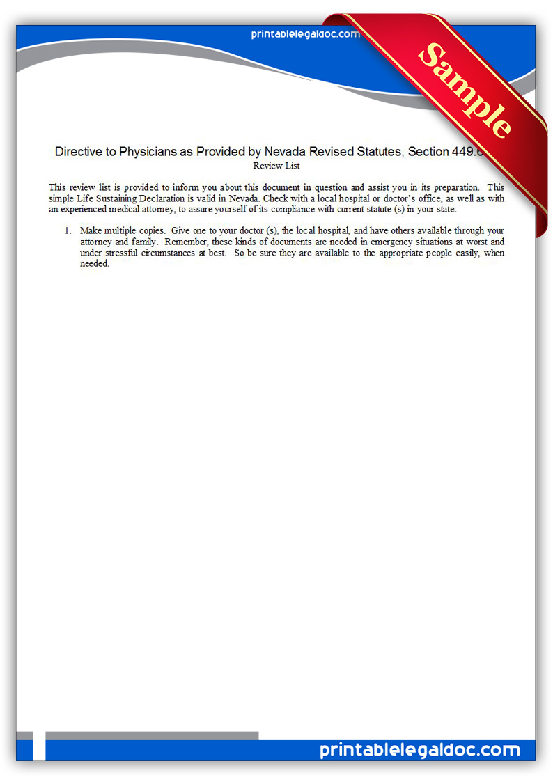 Free Printable Life Sustaining Statute, Nevada Form