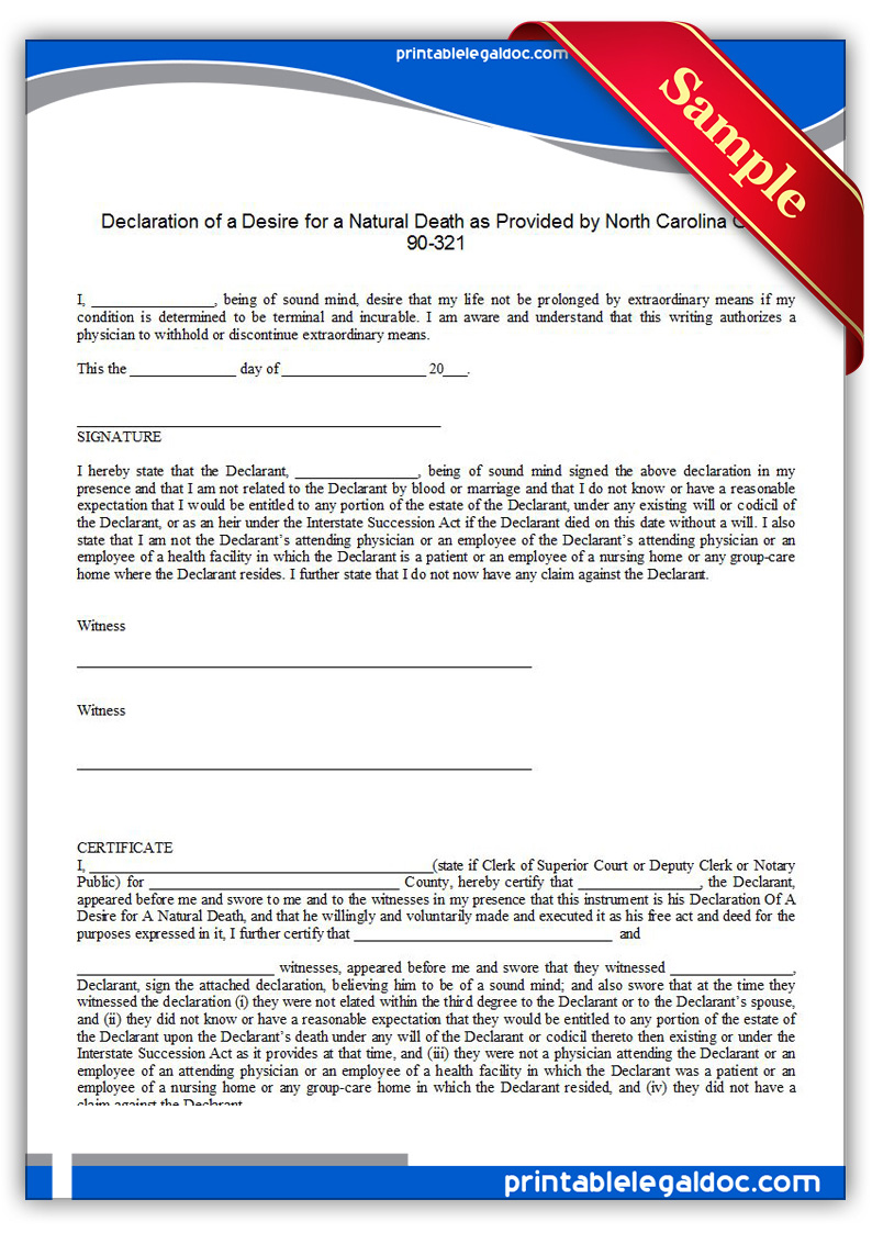 Free Printable Life Sustaining Statute, North Carolina Form