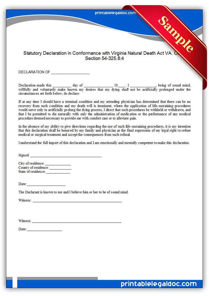Free Printable Life Sustaining Statute, Virginia Form