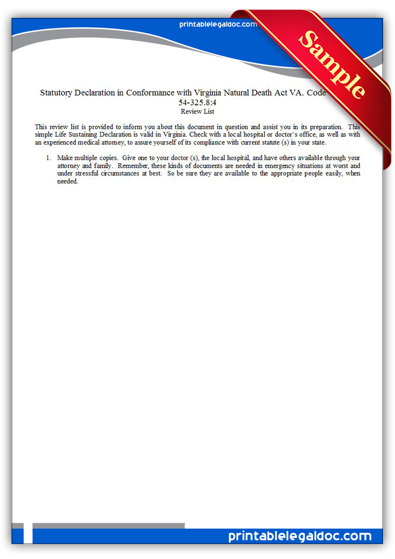 Free Printable Life Sustaining Statute, Virginia Form