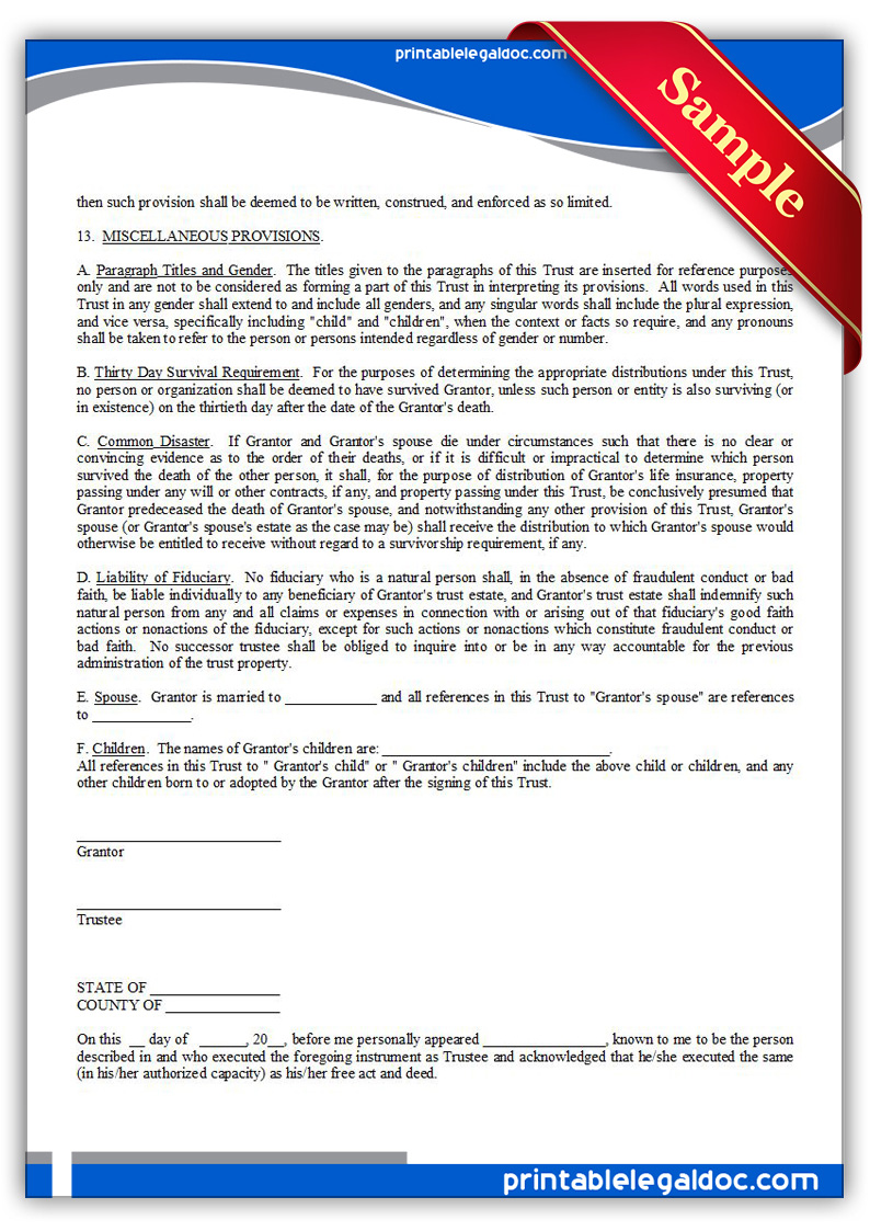 free printable living trust form  generic