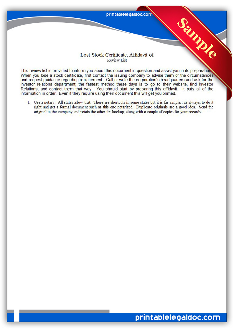 Free Printable Lost Stock Certificate Form Generic