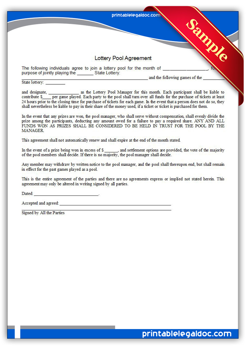 lottery group contract template - free printable lottery pool agreement form generic