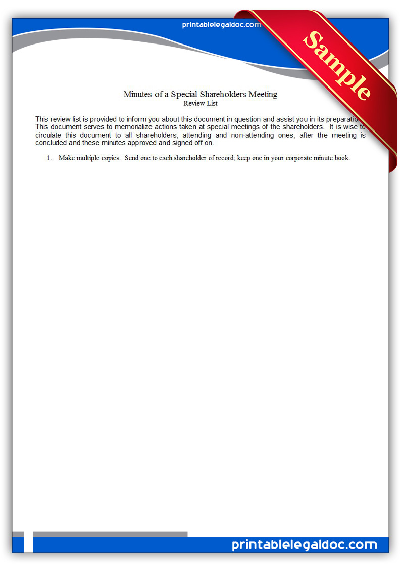 Free Printable Minutes Of A Special Shareholders Meeting Form