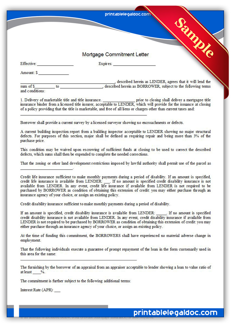 Free Printable Mortgage Commitment Letter Form (GENERIC)