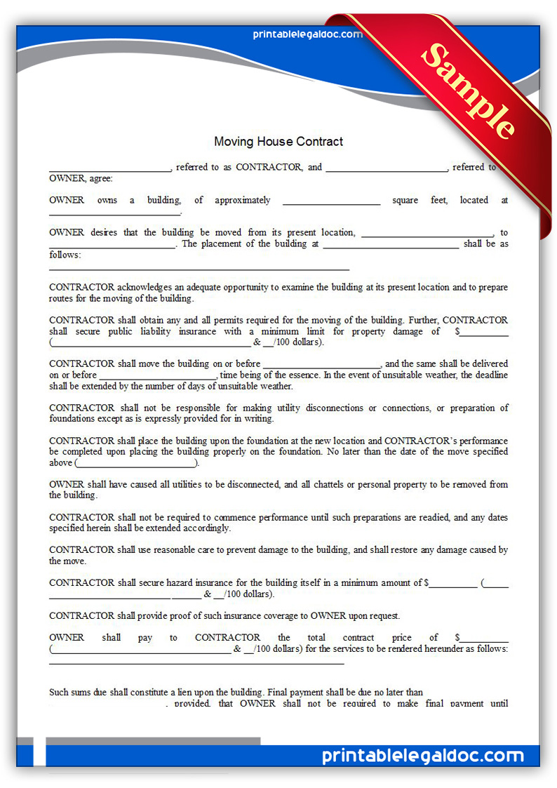 free printable moving house contract form generic. Black Bedroom Furniture Sets. Home Design Ideas