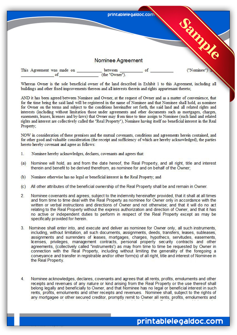 Free Printable Nominee Agreement Form