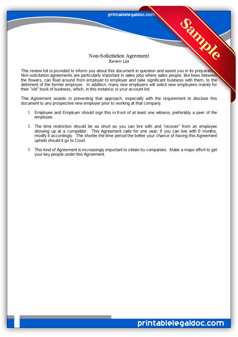Free Printable Nonsolicitation Agreement Form