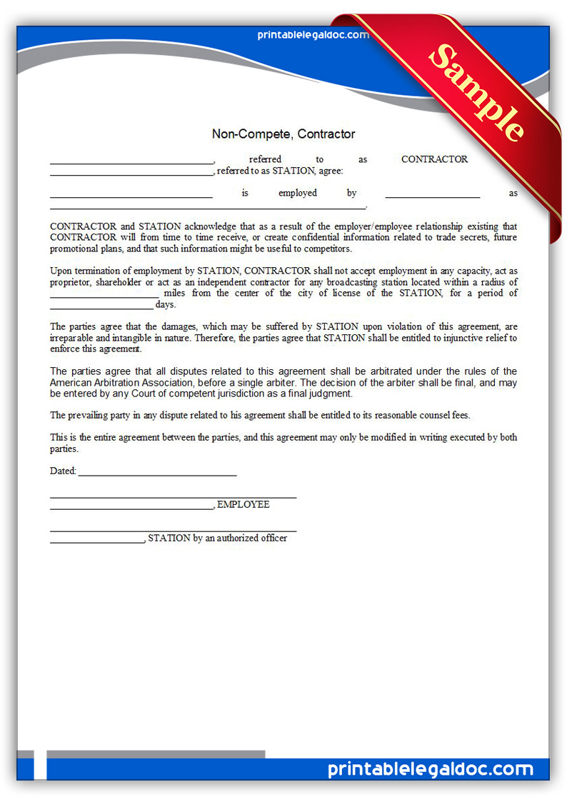 Free Printable Noncompete, Contractor Form