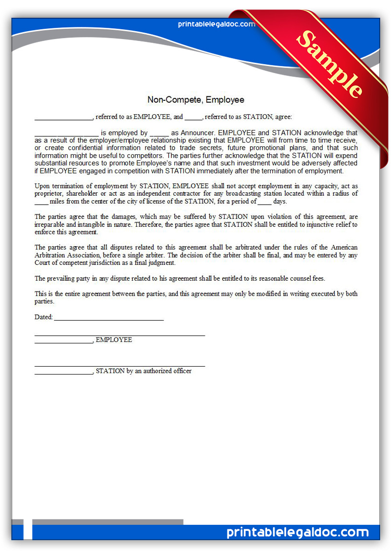 Free Printable Noncompete, Employee Form