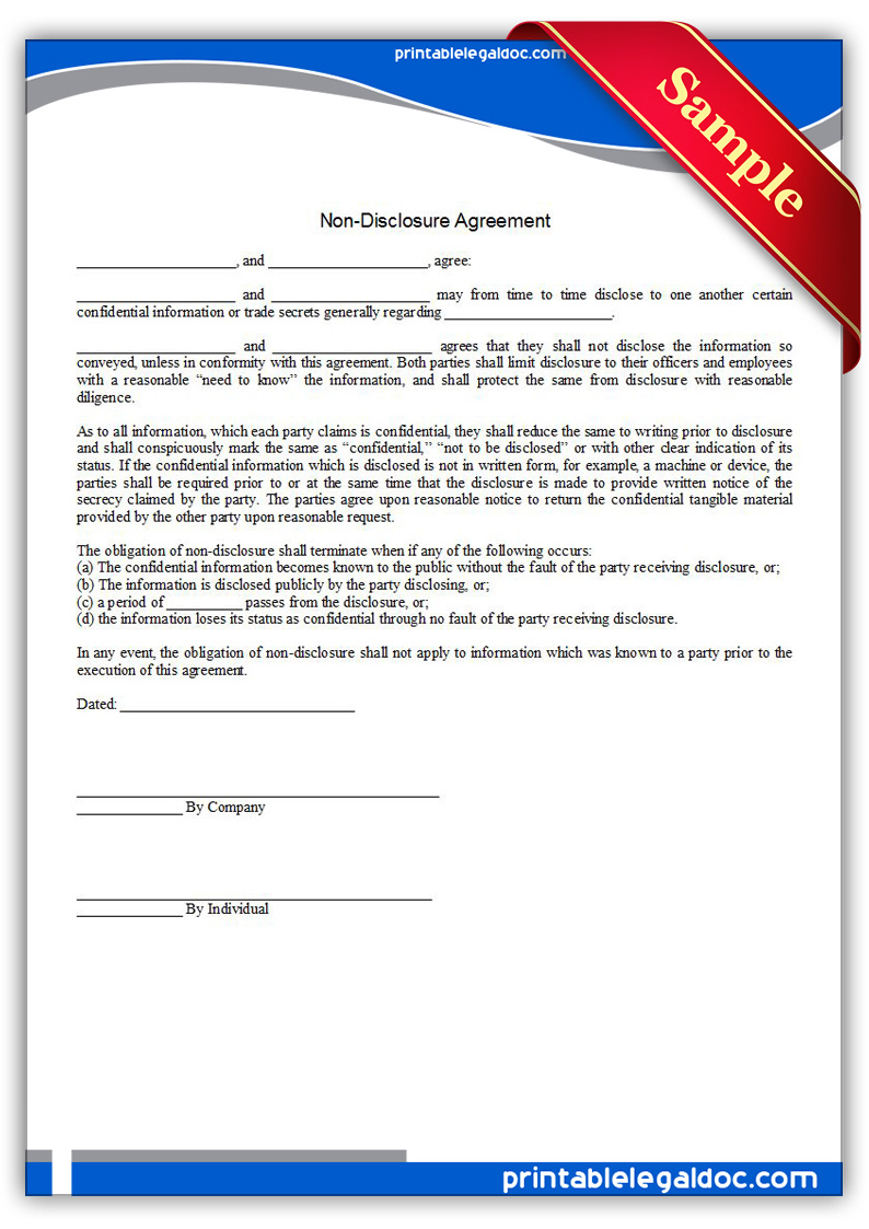 Free Printable Nondisclosure Agreement Form GENERIC