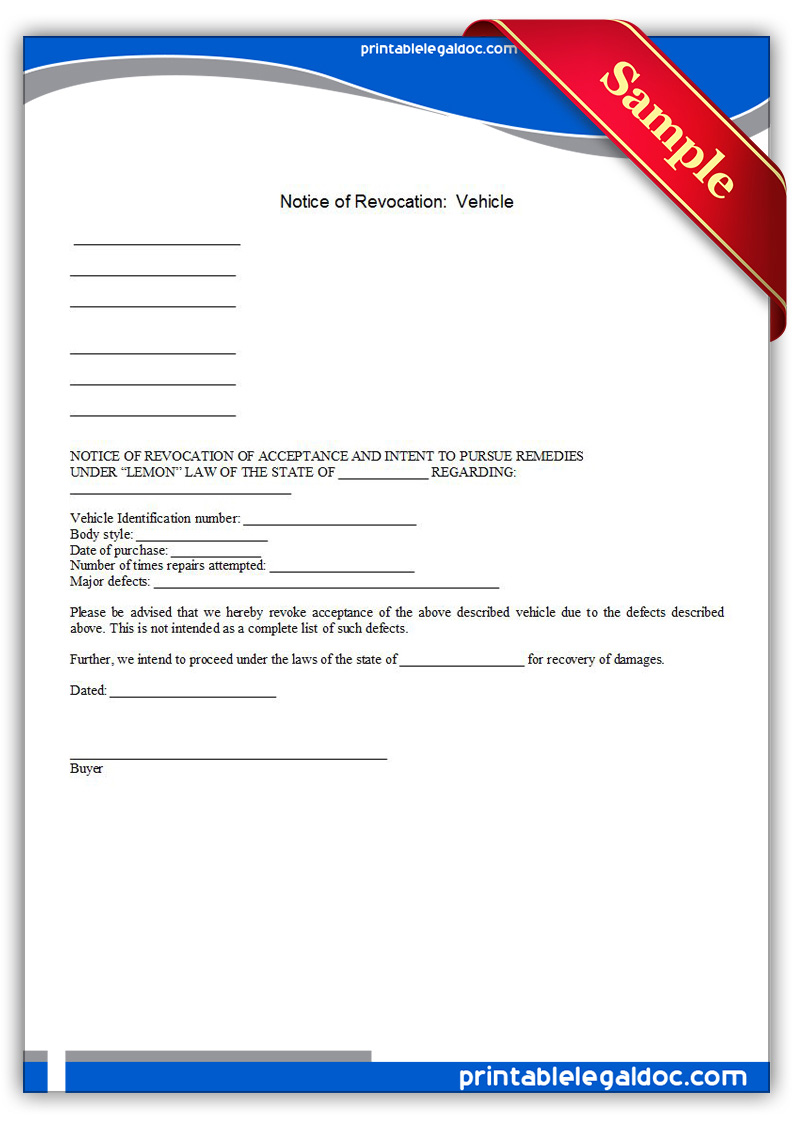 Free Printable Notice Of Revocation Vehicle Form Generic