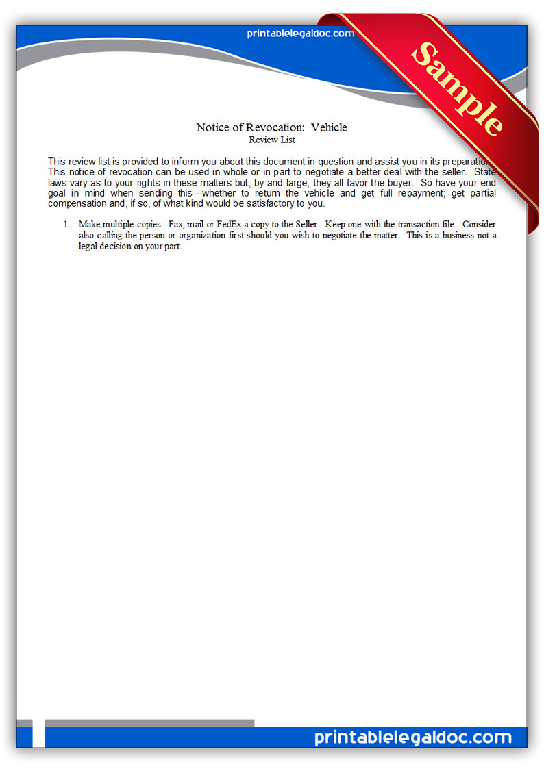 Free Printable Notice Of Revocation Vehicle Form