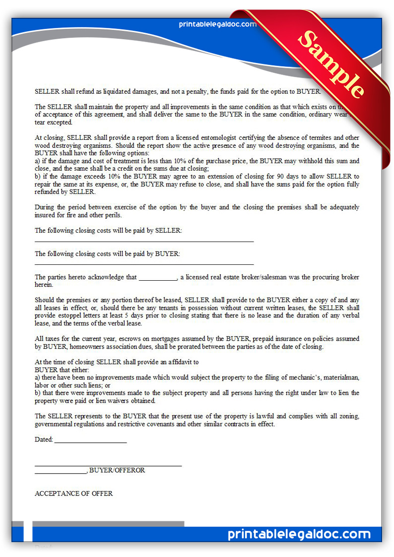 Free Printable Offer To Purchase Real Estate Form