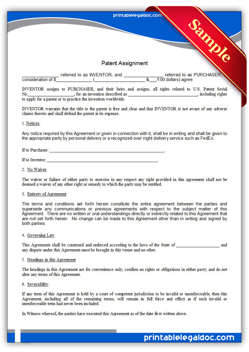free printable patent assignment form generic. Black Bedroom Furniture Sets. Home Design Ideas