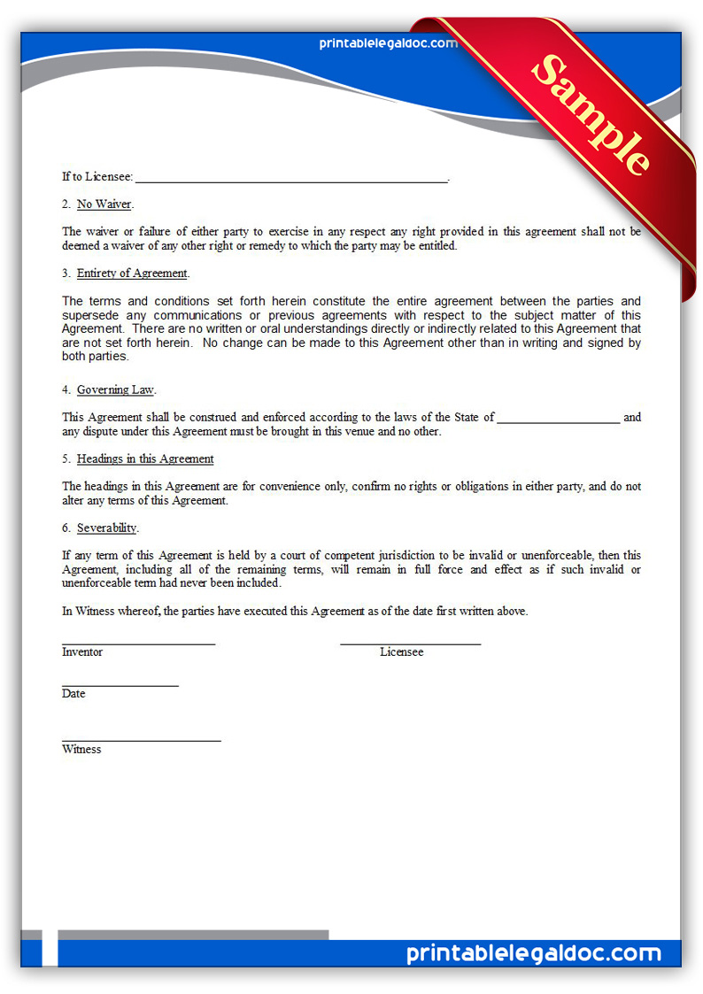 royalty free license agreement template - free printable patent license form generic