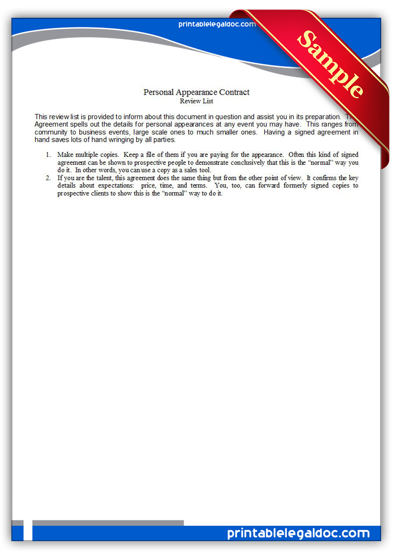 Free Printable Personal Appearance Contracts Form