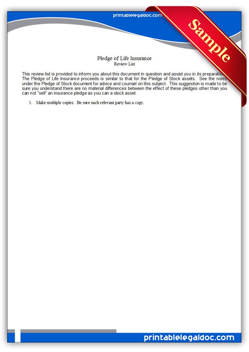free printable pledge of life insurance form  generic
