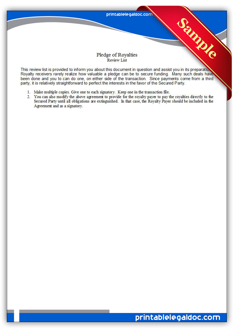 Free Printable Pledge Of Royalties Form