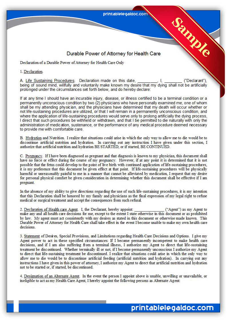 Free Printable Power Of Attorney, Durable, For Health Care Form