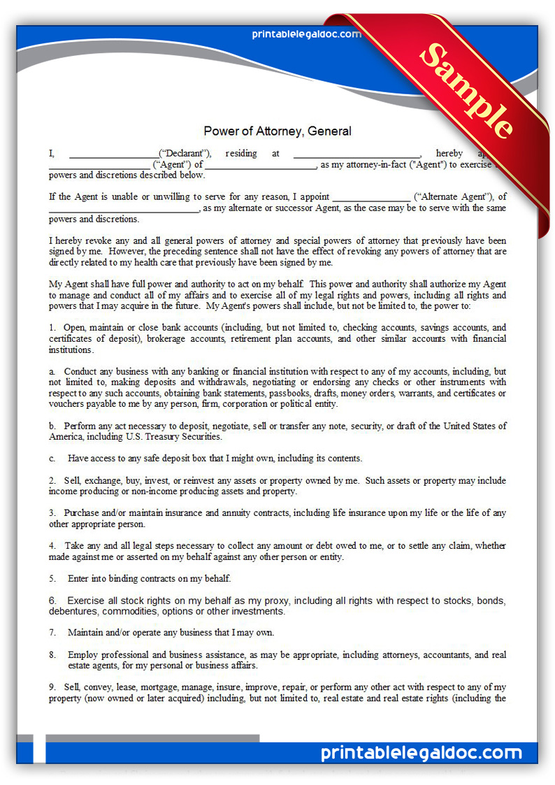 Free Printable Power Of Attorney General Form Generic