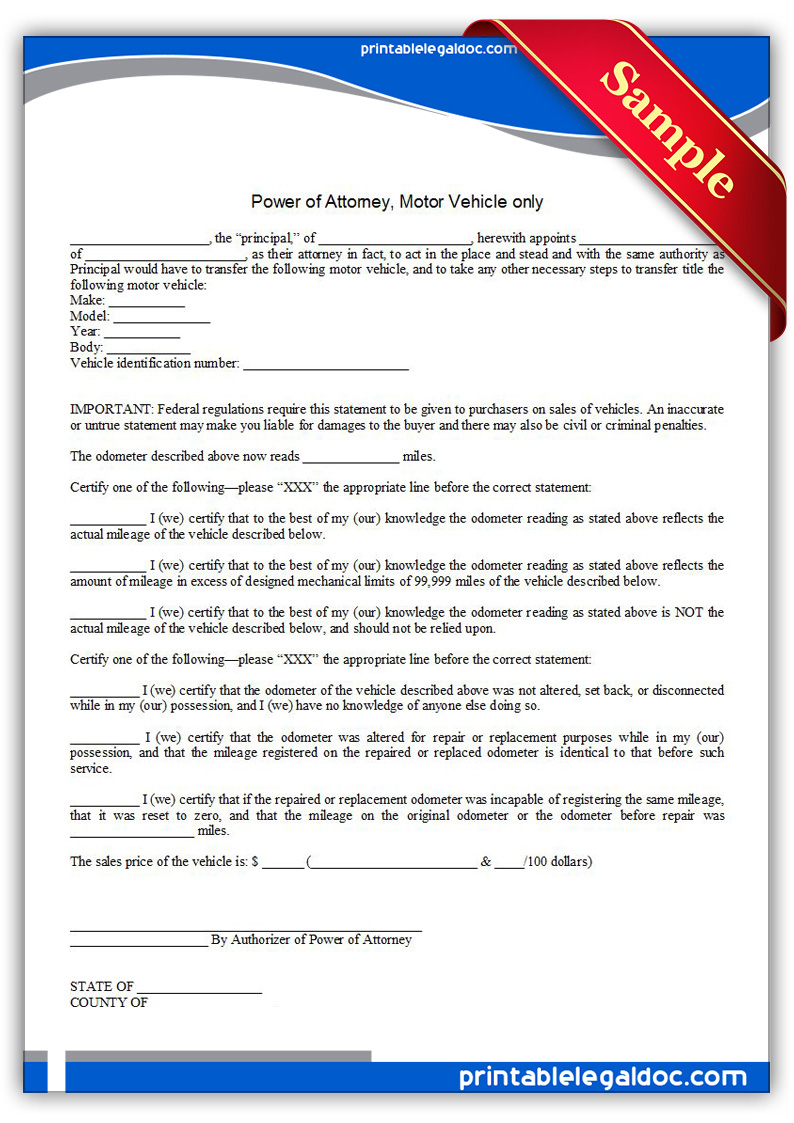 free printable power of attorney  motor vehicle only form