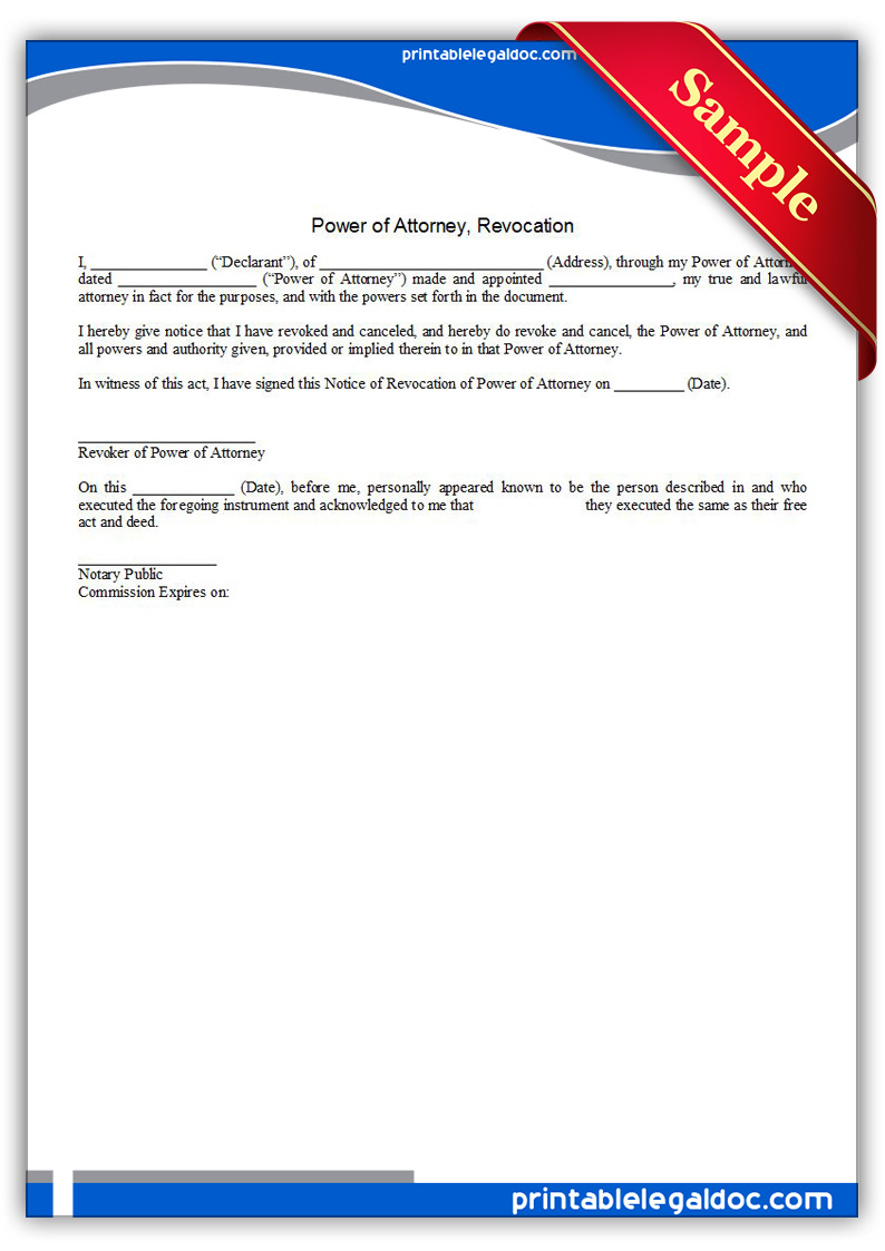 Free Printable Power Of Attorney Revocation Form GENERIC – Blank Power of Attorney Form