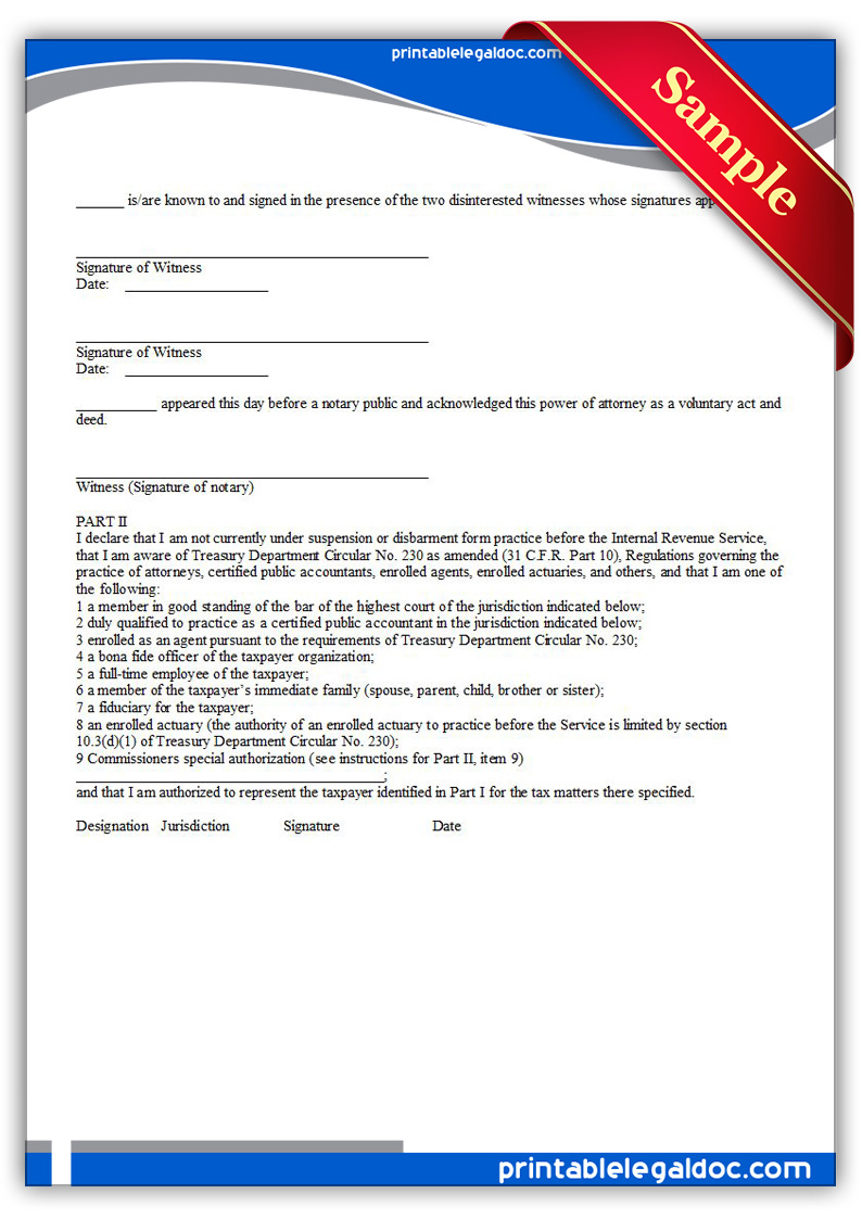 Free Printable Power Of Attorney and Declaration of Representative ...
