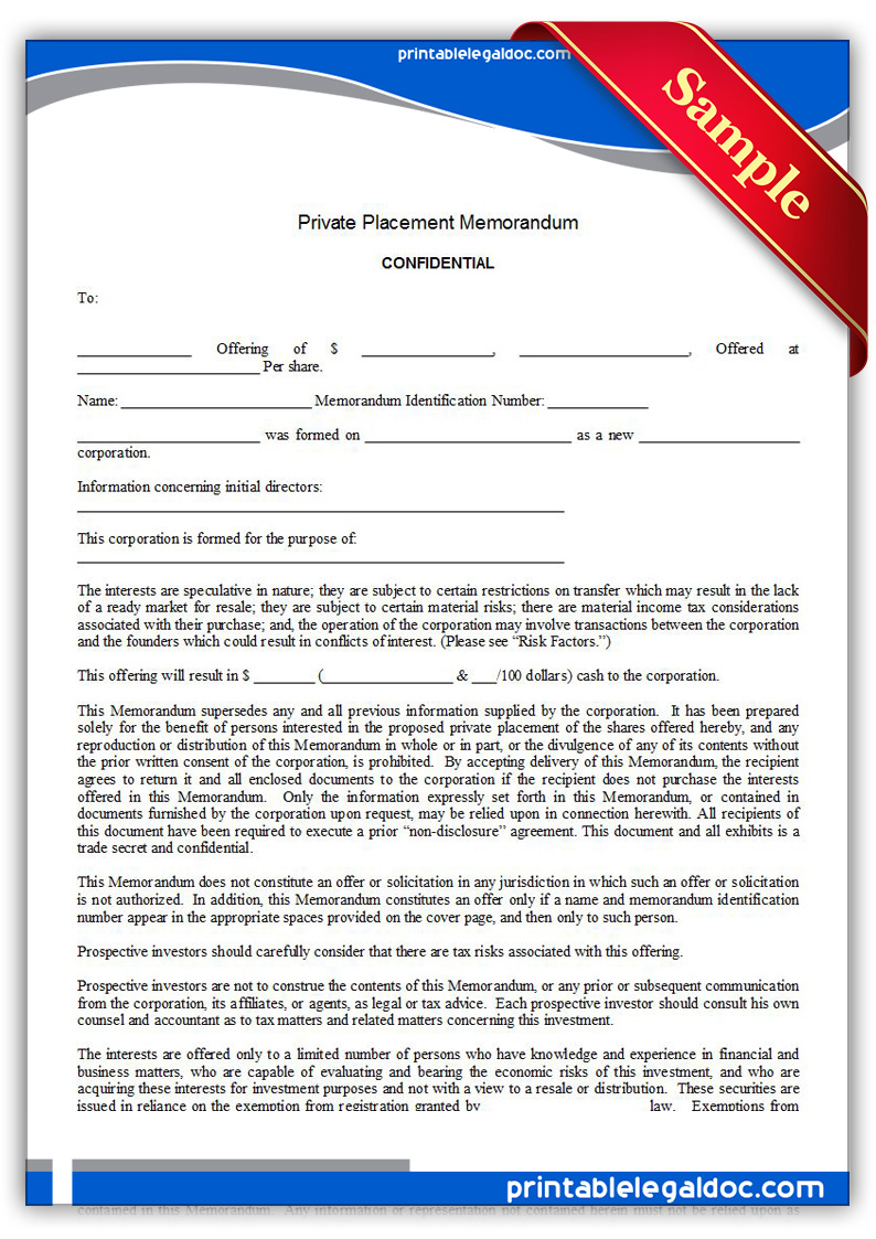 Free Printable Private Placement Memorandum Form ...