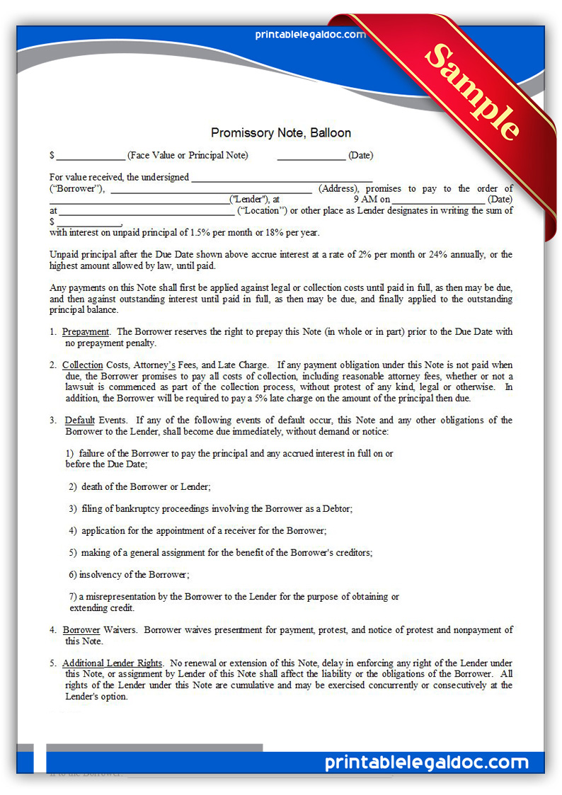 Free Printable Promissory Note Balloon Form GENERIC
